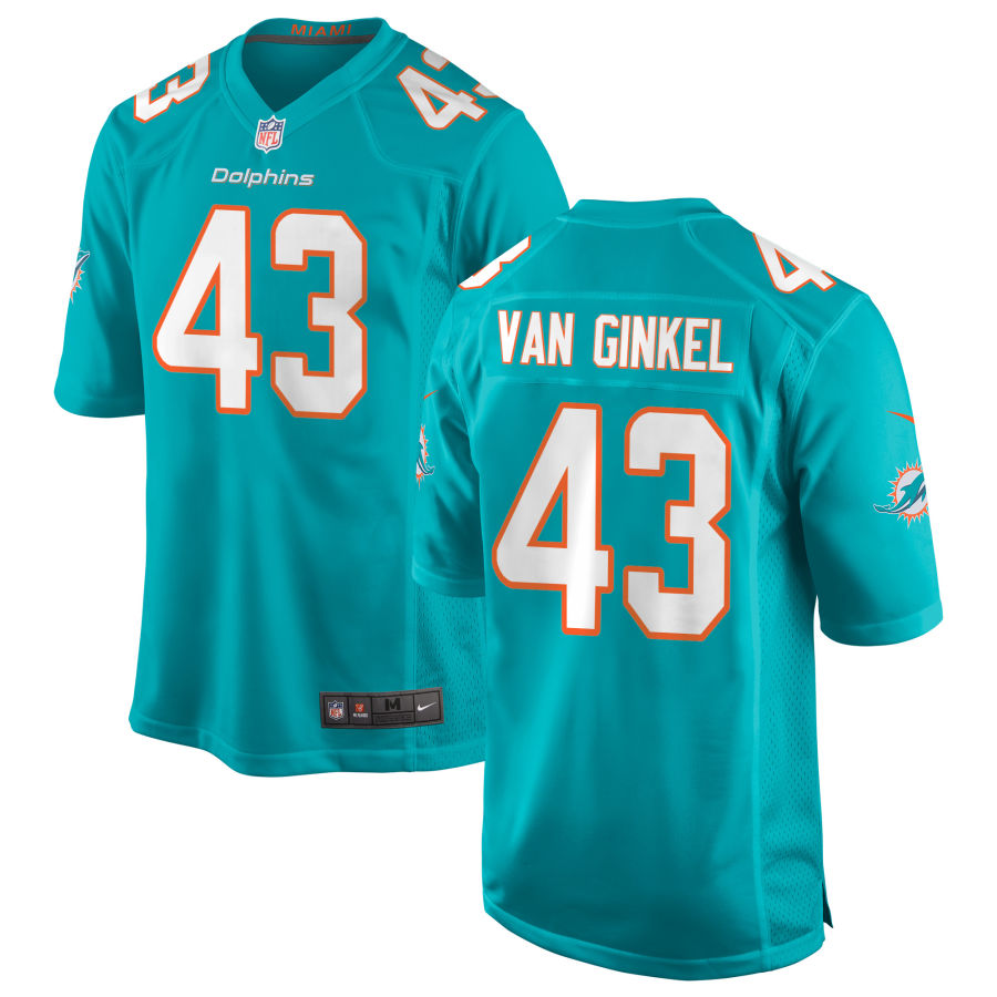 Men's Miami Dolphins #43 Andrew Van Ginkel Green Team Color Stitched NFL Nike Game Jersey