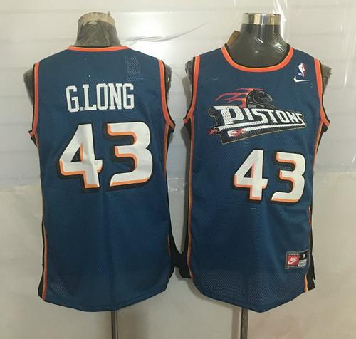 Men's Detroit Pistons #43 Grant Long Teal Blue Hardwood Classics Soul Swingman Throwback Jersey