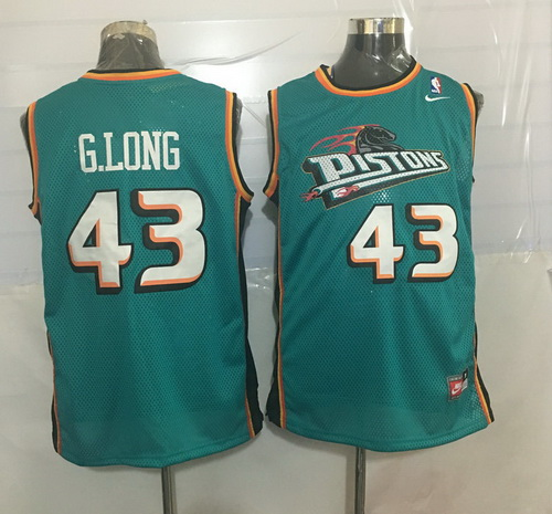 Men's Detroit Pistons #43 Grant Long Teal Green Hardwood Classics Soul Swingman Throwback Jersey