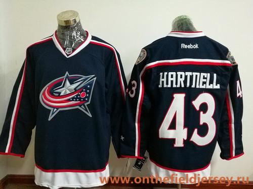 Men's Columbus Blue Jackets #43 Scott Hartnell Navy Blue Home Stitched NHL Reebok Hockey Jersey