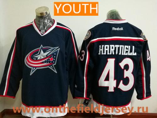 Youth Columbus Blue Jackets #43 Scott Hartnell Navy Blue Home Stitched NHL Reebok Hockey Jersey