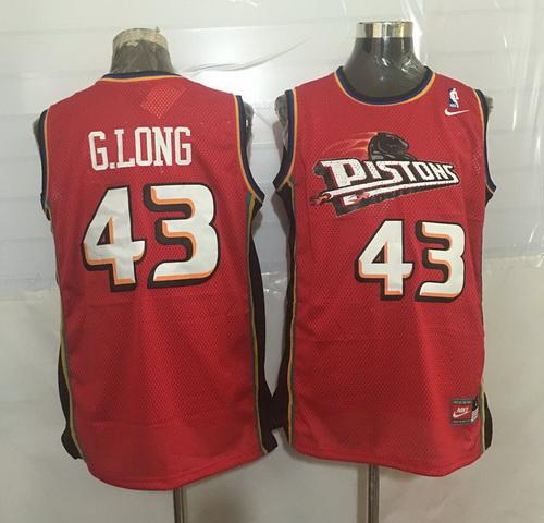 Men's Detroit Pistons #43 Grant Long Red Hardwood Classics Soul Swingman Throwback Jersey