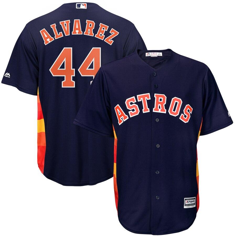 Men's Houston Astros #44 Yordan Alvarez Navy Blue Cool Base Jersey