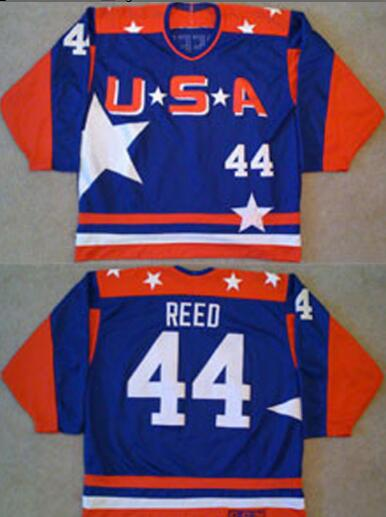 Men's The Movie The Mighty Ducks #44 Fulton Reed Blue Team USA All Star Stitched Film Ice Hockey Jersey