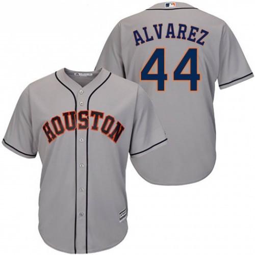 Men's Houston Astros #44 Yordan Alvarez Gray Cool Base Jersey