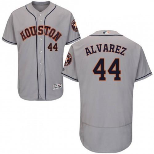 Men's Houston Astros #44 Yordan Alvarez Gray Flex Base Jersey