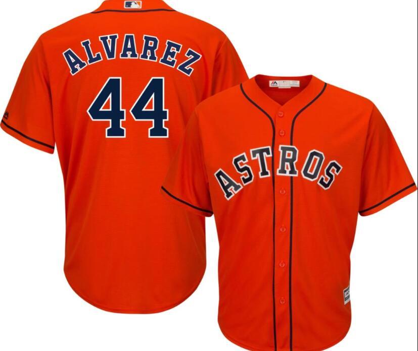 Men's Houston Astros #44 Yordan Alvarez Orange Cool Base Jersey