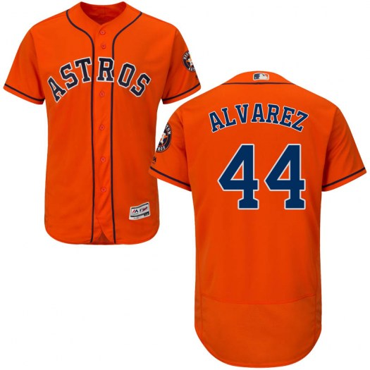 Men's Houston Astros #44 Yordan Alvarez Orange Flex Base Jersey