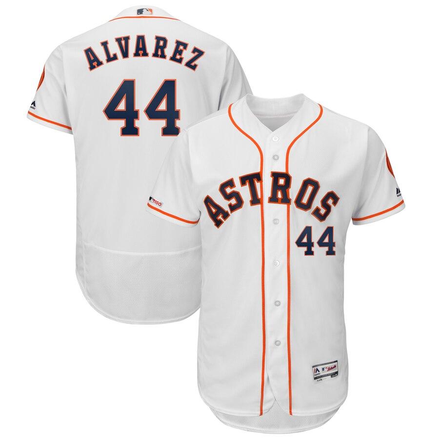 Men's Houston Astros #44 Yordan Alvarez White Flex Base Jersey