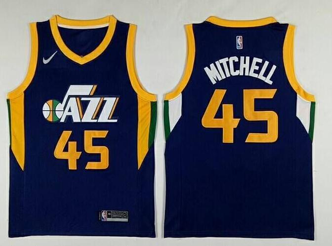 Men's Utah Jazz #45 Donovan Mitchell Navy Blue 2017-2018 Nike Swingman Stitched NBA Jersey