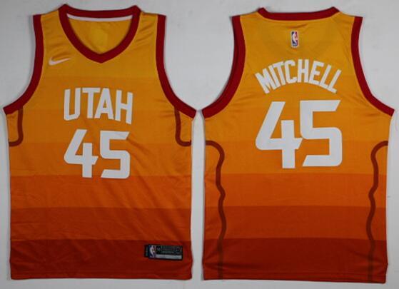 Men's Utah Jazz #45 Donovan Mitchell Orange Rainbow City Edition 2017-2018 Nike Swingman Stitched NBA Jersey