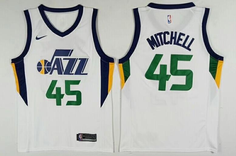 Men's Utah Jazz #45 Donovan Mitchell White 2017-2018 Nike Swingman Stitched NBA Jersey