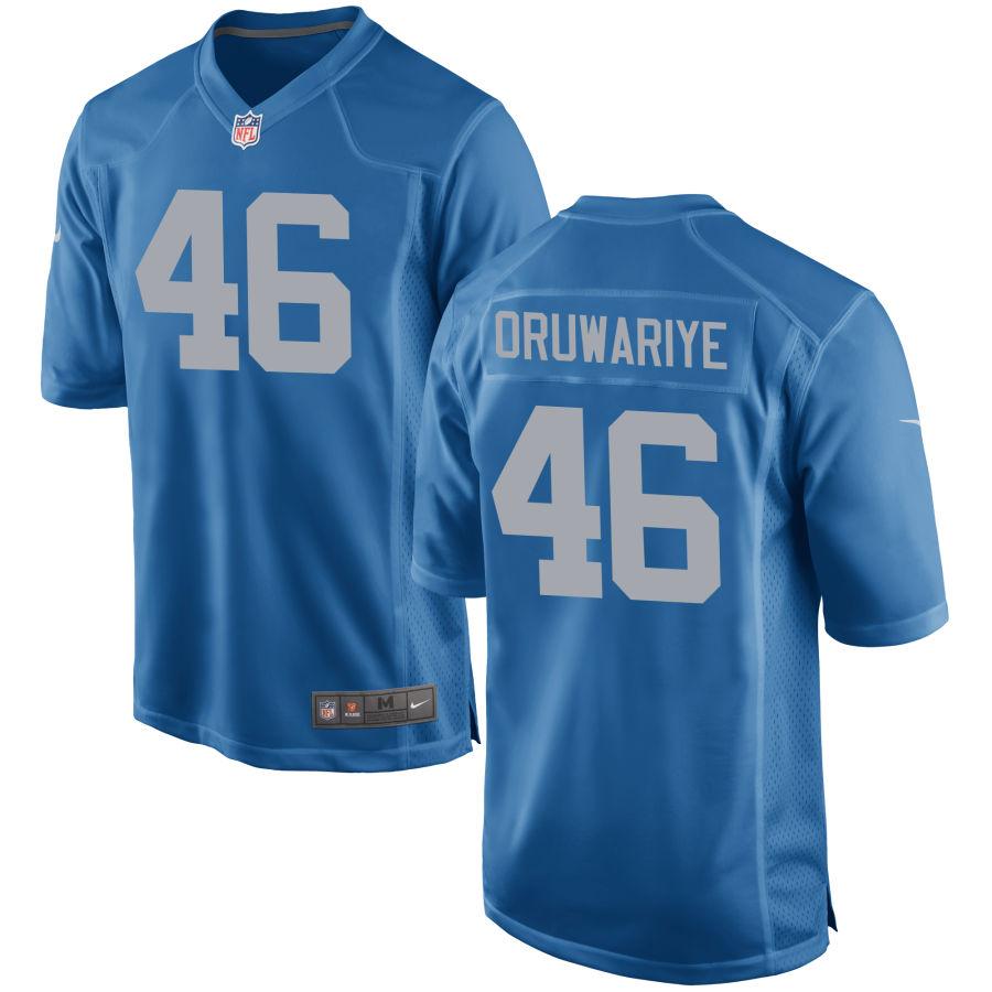 Men's Detroit Lions #46 Amani Oruwariye Blue Throwback NFL Nike Limited Jersey