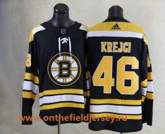 Men's Boston Bruins #46 David Krejci Black Home 2017-2018 adidas Hockey Stitched NHL Jersey
