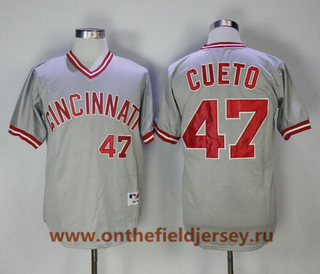 Men's Cincinnati Reds #47 Johnny Cueto Gray Pullover 2013 Cooperstown Collection Stitched MLB Majestic Jersey