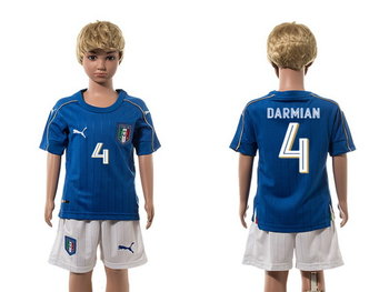 2016 European Cup Italy Home #4 Darmian Blue Youth Soccer Shirt Kit