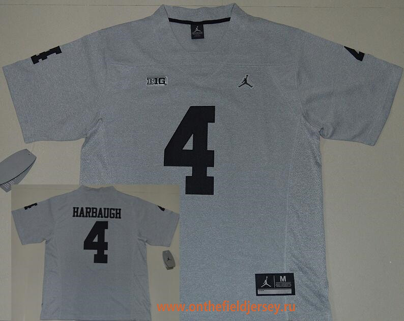 Men's Michigan Wolverines #4 Jim Harbaugh Gridiron Gray II Limited Stitched College Football Nike NCAA Jersey