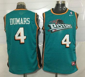 Men's Detroit Pistons #4 Joe Dumars Teal Green Hardwood Classics Soul Swingman Throwback Jersey