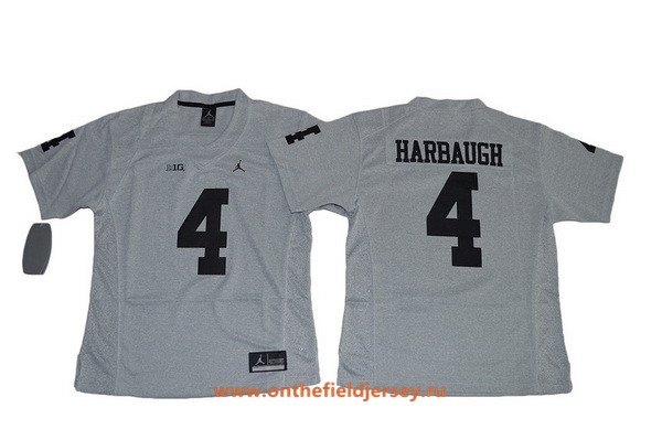Women's Michigan Wolverines #4 Jim Harbaugh Gridiron Gray II Limited Stitched College Football Nike NCAA Jersey