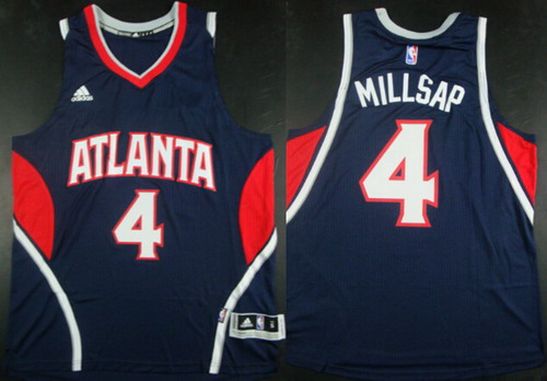 Men's Atlanta Hawks #4 Paul Millsap Revolution 30 Swingman 2014 New Navy Blue Jersey