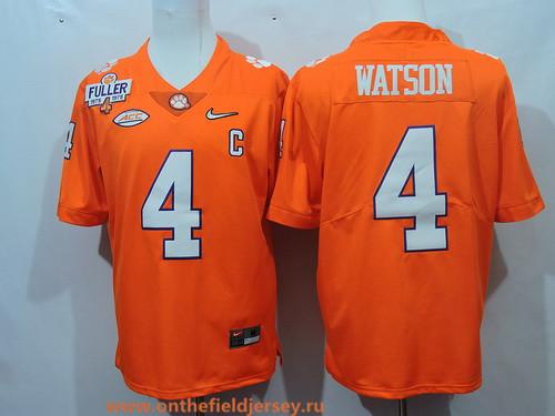 Men's Clemson Tigers #4 Deshaun Watson Orange 2017 Playoff Diamond Quest College Football Nike Rush Limited Jersey