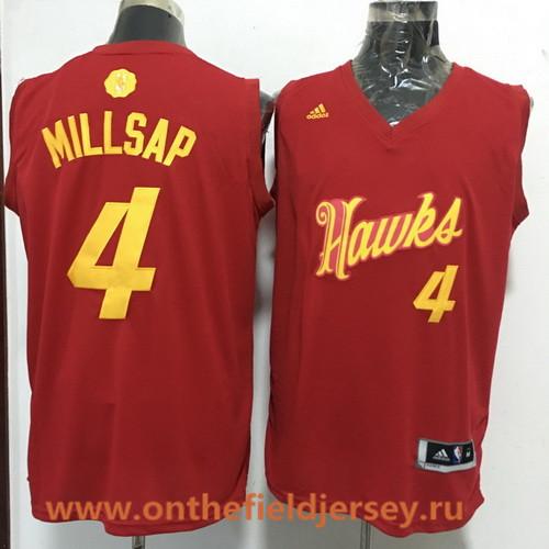 Men's Atlanta Hawks #4 Paul Millsap adidas Red 2016 Christmas Day Stitched NBA Swingman Jersey
