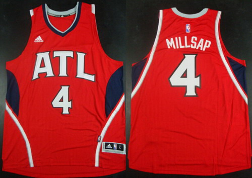 Men's Atlanta Hawks #4 Paul Millsap Revolution 30 Swingman 2014 New Red Jersey
