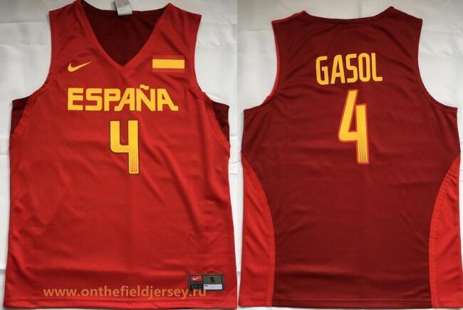 2016 Olympics Team Spain Men's #4 Pau Gasol Red Stitched Basketball Nike Swingman Jersey