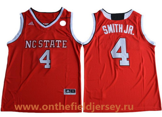 Men's NC State Wolfpack #4 Dennis Smith Jr. Red College Basketball 2017 adidas Swingman Stitched NCAA Jersey