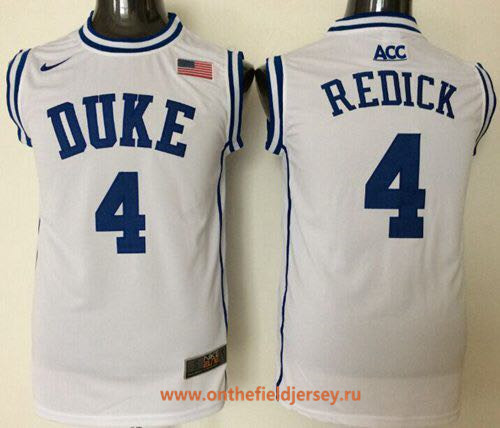 Men's Duke Blue Devils #4 JJ Redick White Round Collar College Basketball Stitched Nike Swingman Jersey