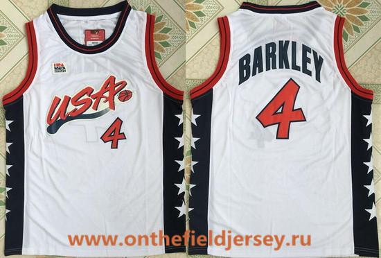 1996 Olympics Team USA Men's #4 Charles Barkley White Retro Stitched Basketball Swingman Jersey
