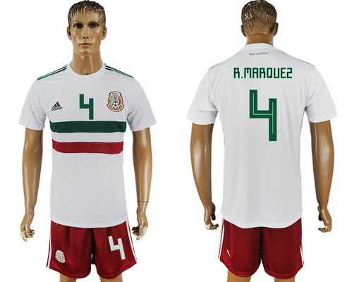 2018 World Cup Mexico National Team Away White #4 R. Marquez Men's Soccer Shirt Kit