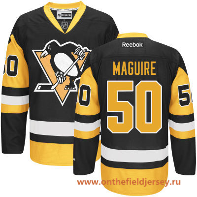 Men's Pittsburgh Penguins #50 Sean Maguire Black Third Stitched NHL Reebok Hockey Jersey