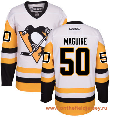 Men's Pittsburgh Penguins #50 Sean Maguire White Third Stitched NHL Reebok Hockey Jersey
