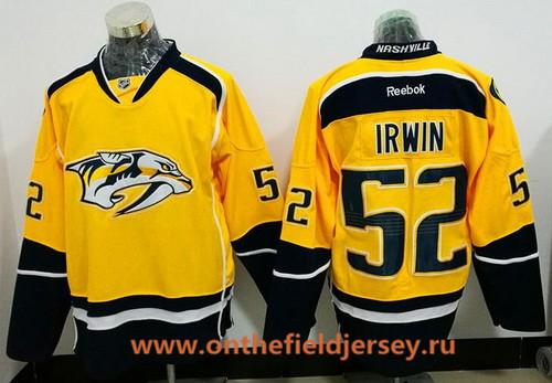 Men's Nashville Predators #52 Matt Irwin Yellow Home Stitched NHL Reebok Hockey Jersey