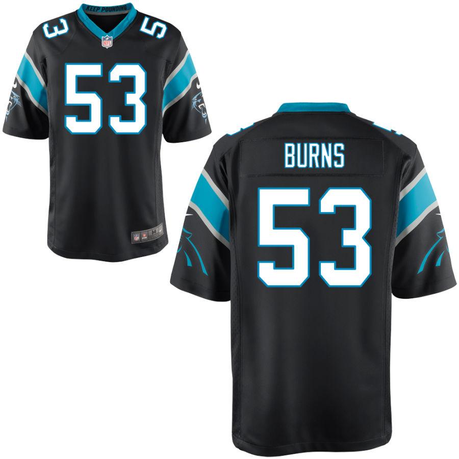 Men's Carolina Panthers #53 Brian Burns Black Stitched NFL Nike Game Jersey