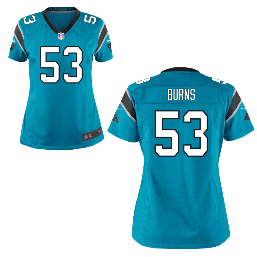 Men's Carolina Panthers #53 Brian Burns Light Blue Stitched NFL Nike Game Jersey