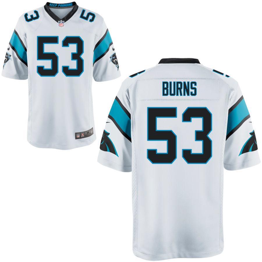 Men's Carolina Panthers #53 Brian Burns White Stitched NFL Nike Game Jersey