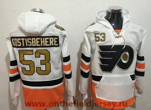 Men's Philadelphia Flyers #53 Shayne Gostisbehere White with Gold 50th Patch Pocket Stitched NHL Old Tim Hockey Hoodie