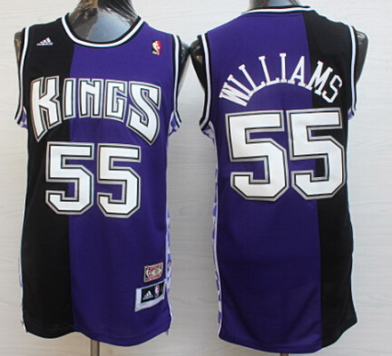 Men's Sacramento Kings #55 Jason Williams Purple/Black Hardwood Classics Soul Swingman Throwback Jersey