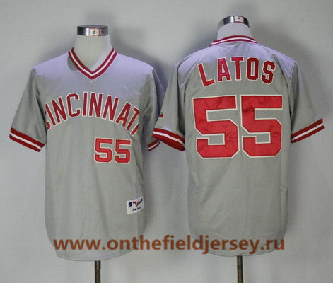 Men's Cincinnati Reds #55 Mat Latos Gray Pullover 2013 Cooperstown Collection Stitched MLB Majestic Jersey