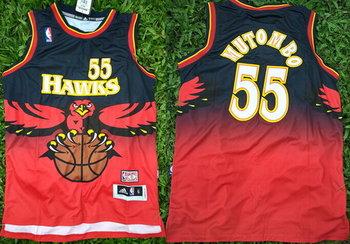 Men's Atlanta Hawks #55 Dikembe Mutombo 1990 Red Hardwood Classics Soul Swingman Throwback Jersey