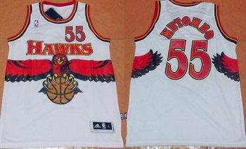 Men's Atlanta Hawks #55 Dikembe Mutombo 1990 White Hardwood Classics Soul Swingman Throwback Jersey