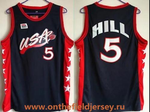 1996 Olympics Team USA Men's #5 Grant Hill Navy Blue Retro Stitched Basketball Swingman Jersey