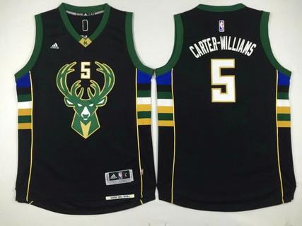 Men's Milwaukee Bucks #5 Michael Carter-Williams Revolution 30 Swingman 2015-16 Black Jersey