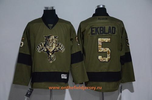 Men's Florida Panthers #5 Aaron Ekblad Green Salute To Service Stitched NHL Reebok Hockey Jersey