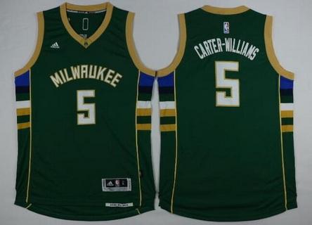 Men's Milwaukee Bucks #5 Michael Carter-Williams Revolution 30 Swingman 2015-16 Green Jersey