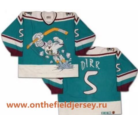 Men's Mighty Ducks of Anaheim Wild Wing #5 Robert Dirk 1995-96 Teal Green CCM Throwback Stitched Vintage Hockey Jersey