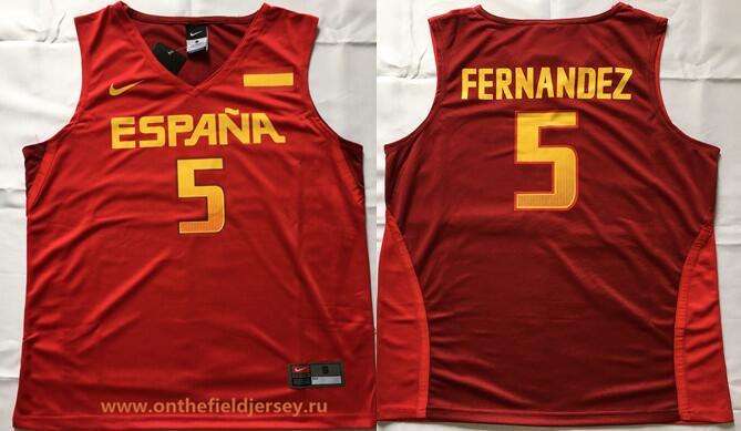 2016 Olympics Team Spain Men's #5 Rudy Fernandez Red Stitched Basketball Nike Swingman Jersey