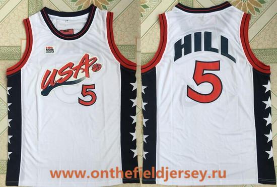 1996 Olympics Team USA Men's #5 Grant Hill White Retro Stitched Basketball Swingman Jersey